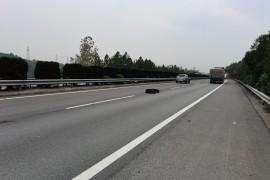 货车轮胎遗落高速路面上 路政员及时转移至护栏外